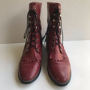 Shoes - VTG Leather Victorian Hipster Fringe Lace Up Boots